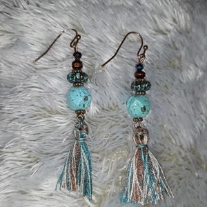 Tassle Dangly Earrings ~brown blue gems long new